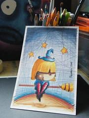 bruja (fellipe O_o) Tags: macro art watercolor acrylic child witch magic infantil fujifilm acuarela broom magia ilustraciones bruja acrilico escoba hechicera s2000hd