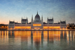 Budapest Parliament (TheFella) Tags: city morning travel sky reflection slr texture water architecture digital photoshop sunrise buildings river eos dawn lights photo high europe hungary dynamic fineart budapest parliament photograph dome processing 5d bluehour dslr range danube hdr highdynamicrange mkii markii riverdanube parliamentbuilding postprocessing travelphotography photomatix imresteindl thefella 5dmarkii conormacneill thefellaphotography