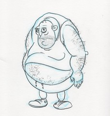 FatMan suntanned sketch (dillardma) Tags: sketch drawing character cartoon graphite fatman bluepencil conceptdrawing
