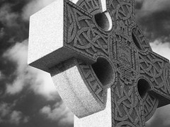 29/52 -- Carved in Stone (Pandora-no-hako) Tags: blackandwhite cemetery grave cross indianapolis indiana celtic 2012 crownhill project52
