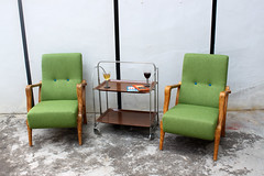 Vintage Green Armchairs (Like That One) Tags: green vintage buttons armchair upholstered rehabbed