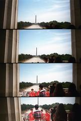 Lincoln Memorial Reflecting Pool (SqueakyMarmot) Tags: travel usa america washingtondc lomo supersampler districtofcolumbia toycamera tourists 35mmfilm scanned lincolnmemorial washingtonmonument reflectingpool crowds plasticcamera themall 4lens may2012