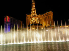 Paris Las Vegas seen through the fountains of Bellagio