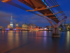 Bridge to Bankside (Aubrey Stoll) Tags: longexposure bridge england london water thames reflections river lights globe theatre britain millennium bluehour shard southwark bankside globetheatre southwarkbridge banksidepier