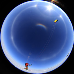 Full Sky Optics... and a Kite Skier (Ed.Stockard) Tags: snow ice glacier fisheye arctic greenland summit parhelion arcs halos circumzenithalarc optics sundogs parheliccircle summitstation 22degreehalo icesheet sigma8mm