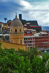 Colorful village of Vernazza located in Cinque Terre, Liguria, Italy (Jeff Rose Photography) Tags: travel sky italy reflection tree tower church vertical horizontal architecture outdoors photography bay town europe day village dusk liguria hill religion tranquility nopeople illuminated cinqueterre multicolored vernazza oldfashioned traveldestinations colorimage famousplace buildingexterior lowangleview highangleview italianculture residentialstructure jekaworldphotography jeffrosephotography kalitharosephotography