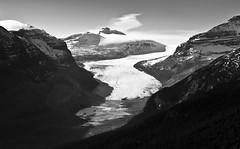 Faraway (CNorthExplores) Tags: bw canada mountains canon glacier alberta banffnationalpark g11 canadianrockies explored saskatchewanglacier
