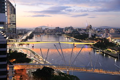 South Brisbane suburbs sunrise  Friday 6th May (Lance CASTLE) Tags: sunrise brisbane brisbanecity lights yellow bridges river brisbaneriver outdoor victoriabridge kurilpabridge construction cranes cityview waterfront water buildingstructure skyline city road arch waterscape existinglight natural landscape cityscape nice horizon architecture building infrastructure brisbanecitycouncil queenslandtourism twitter geotagged mybrisbane