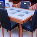 Cherry and glass extendable dining table