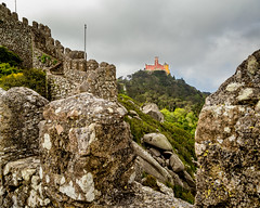 Castelo dos Mouros and Palace of Pena, Sintra Portugal (Grant and Caroline's pix) Tags: castles portugal sintra palaces palaceofpena casteldosmouros