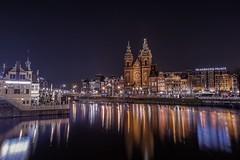 Amsterdam (karinavera) Tags: street city longexposure travel urban church netherlands station amsterdam night lights cityscape capitalcities nikond5300