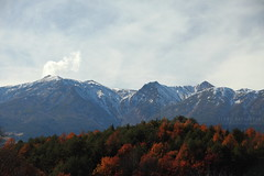 Mt. Ontake (Elios.k) Tags: camera travel november blue autumn trees red vacation sky mountain snow mountains color colour travelling green leaves weather japan horizontal forest canon landscape outdoors photography volcano scenery asia cloudy peak nopeople smoking foliage summit active foreground naganoprefecture chubu ontake 2015 honsu japanalps centralalps ontakesan hidamountains mtontake chbu 5dmkii kisodistrict 100famousmountains kisoontake