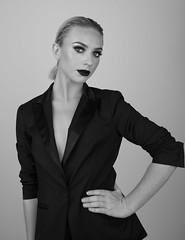 A Pose (DaisyDeeM) Tags: blackandwhite monochrome pose model blond striking