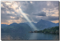 Shine Your Light (Fraggle Red) Tags: morning sun sunlight lake clouds austria sterreich view rays obersterreich hdr upperaustria traunsee traunkirchen canonef24105mmf4lisusm 7exp dphdr canoneos5dmarkiii 5d3 5diii adobephotoshopcc adobelightroomcc