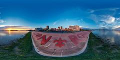 Baton Rouge, Louisiana (orebrandonm) Tags: sunset panorama louisiana batonrouge mississippiriver ptgui 360degreepanorama canon5dsr