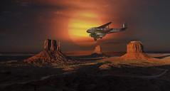 Sundowner Scenic Flight (brian_stoddart) Tags: dark flying sundown aircraft monumentvalley