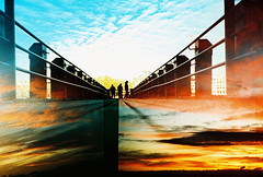 Lomo  put things in perspective (lomomowlem) Tags: sunset sky london film clouds pier lomo lca xpro lomography xprocess doubleexposure crossprocess lofi analogue split halfframe expiredfilm kodakelitechrome ebx misaligned colourstreambrighton