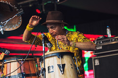 Ibibio Sound Machine @ Lunar Festival 6 (preynolds) Tags: musician music hat festival concert birmingham raw dof stage gig livemusic noflash electronic bongos afrobeat mark2 stagelights percussioninstruments tamron2470mm canon5dmarkii counteractmagazine lunarfestival2016