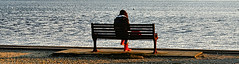 #37 Footwear 112 pictures in 2012 (Karyn .) Tags: uk red sea water bench solitude waves boots candid seat dorset lone solitary poole baiterpark