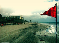 Early Warning System / Sistema de Alerta Temprana (Claudio.Ar) Tags: sea sky color beach clouds mexico mar sand bravo flag sony playadelcarmen playa arena cielo nubes bandera cancun topf100 dsc quintanaroo h9 claudioar claudiomufarrege warningred