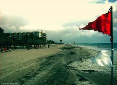 Early Warning System / Sistema de Alerta Temprana (Claudio.Ar) Tags: sea sky color beach clouds mexico mar sand bravo flag sony playadelcarmen playa arena cielo nubes bandera cancun topf100 dsc quintanaroo h9 claudioar claudiomufarrege warningred