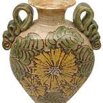 "<b>Sunflower Vase</b><br/> John Coiner '67, Corvallis, Ore. Pond Farm 1967 ""Sunflower Vase"" stoneware, 2001 10-1/8"" x 9"" x 5"" LFAC 2002:05:16 <a href=""http://farm8.static.flickr.com/7269/7042490121_ea2721f049_o.jpg"" title=""High res"">∝</a>"