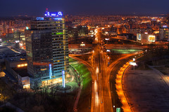 Aupark Tower (Miroslav Petrasko (hdrshooter.com)) Tags: camera city travel color tower night digital skyscraper canon lens effects photography eos lights photo blog high europe dynamic image mark ii software processing multiple 5d slovensko slovakia imaging roads dslr range bratislava hdr hdri miroslav exposures bracketing 2470mm petrzalka aupark photomatix tonemapped photographyblog photoglog theodevil hdrshooter petrasko miroslavpetrasko hdrshooternet
