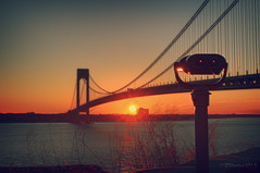 Viewer of Sunrise (JVierno77) Tags: bridge shadow red sun ny newyork water silhouette brooklyn photoshop sunrise canon rebel bay marine glow suspension beam gateway column 1855mm statenisland hdr narrows t3i verrazano vz yabbadabbadoo fortwadsworth cs5 vznarrowsbridge