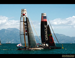 America's Cup World Series Napoli (King Midas Touch*) Tags: world sky people italy water america boat reflex interestingness italia mare campania yacht luna cielo napoli naples vesuvio acqua piranha regata lunarossa golfodinapoli cluods catamarano oracleteam teamkorea d5000 panningeffect professionalshot effettopanning nikond5000 kingmidastouch ac45 gigicosta wwwkingmidastouchaltervistaorg americascupnapoli americascupworldseriesnapoli