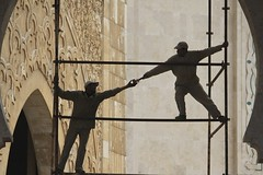 Precarious Teamwork (owilybug) Tags: africa travel work casa workers scaffolding silhouettes mosque morocco maghreb casablanca northernafrica hassaniimosque TGAM:photodesk=lines2012