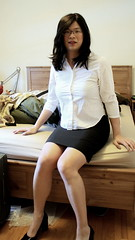 Casual Wednesday (tgirl-katie) Tags: black home asian tv cd chinese skirt tgirl transgender tranny casual transexual transgendered crossdresser ts tg transsexual ladyboy workclothes  m2f blackskirt  pencilskirt   newhalf