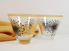 Martini Glasses Stemless Black Gold Hand Painted Set of 2 (Painting by Elaine) Tags: black glass modern gold wine fireworks painted handpainted glassware blackgold martiniglasses stemless handpaintedglassware paintedglasses paintedglassware stemlessmartini stemlessmartiniglass paintedwineglass paintingbyelaine goldwineglass