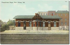 Pennsylvania Railroad Depot, New Albany, Indiana (Hoosier Recollections) Tags: usa signs color history industry fence buildings advertising clothing indiana streetscene transportation businesses railroads newalbany floydcounty hoosierrecollections