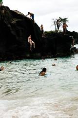 Pam at Waimea Bay (MitchRJ81) Tags: ocean rock island hawaii bay jumping oahu diving pam waimea 2012