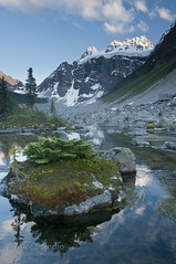Mount Quadra Watches Over Consolation Lakes (Marc Shandro) Tags: summer canada mountains nature beautiful landscape scenery outdoor scenic bluesky alpine alberta northamerica banff majestic idyllic freshwater banffnationalpark environments unspoiled canadianrockies glaciallake