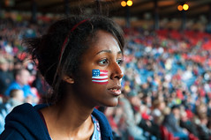 Anxious supporter (csh 22) Tags: portrait girl 50mm football glasgow candid soccer american supporter starsandstripes olympicgames olympics2012 candidportrait hampdenpark nikond90 olympicfootball