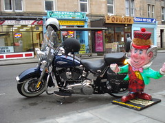 Mad Hatter Harley Davidson Bike Backtracks Tollcross (hatmandj) Tags: music hat bike wheel rock photo kilt picture disney harley motorbike figure motor wonderland davidson madhatter hatter tollcross broughamstreet backtracks