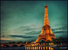Eiffel Tower (Calvin J.) Tags: paris france tower texture architecture landscape nikon eiffel crossprocessing latoureiffel nik nikkor ironlady 2470mmf28 colorefexpro ladamedefer d3s singhrayvarind machineryhdreffects