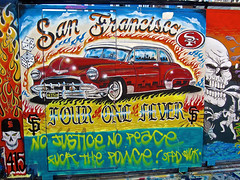 Four One Fever, San Francisco, CA (Robby Virus) Tags: sanfrancisco california street hot art car vintage four one justice alley peace antique district no flames police heat mission giants lowrider fever clarion 415 fiver firsco
