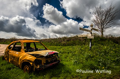 Poor thing! (stagenutuk) Tags: sky abandoned car clouds countryside rust country rusty somerset lane approved signpost rustycar quantocks quantockhills nikon1024mmlens nikond7200