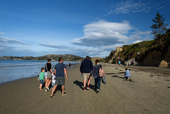 Heading for the Cafe (Jocey K) Tags: autumn sea newzealand people beach water clouds sand shadows southisland otago moerakiboulders oamaru moeraki tripdownsouth