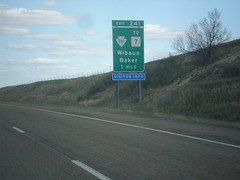 I-94 East - Exit 241 (sagebrushgis) Tags: sign montana intersection i94 wibauxcounty biggreensign mt7 freewayjunction mts261