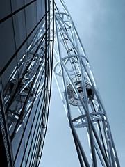 Arch reflections (Charlotte Ruck) Tags: wembley football ground building urban mirror reflect reflecion hydraulics art blue portrait white blackandwhite bw monochrome