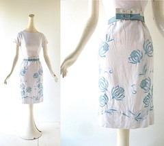 1950s white linen sheath dress with blue embroidered flowers and bow belt, from Johnnye Jr. (Small Earth Vintage) Tags: blue white floral dress linen 1950s 50s embroidered vintageclothing vintagefashion sheathdress smallearthvintage johnnyejr