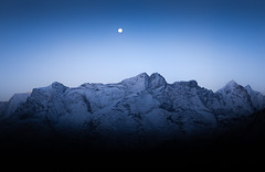 First Light (ArriveDepart) Tags: asia nepal full moon himalayas alex green arrivalsanddeparturescom mountians early light blue hour everest region