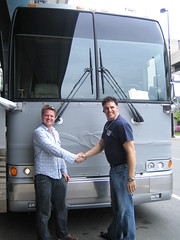 Jeremy extends a hand of thanks to Fred our bus driver