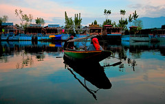 Sunrise !!!! (Rambonp love's all creatures of Universe.) Tags: morning trees sky india lake snow mountains nature water clouds sunrise canon landscape boats lights day cloudy ripples jk houseboats dallake shikaras canoneos1000d canonedge