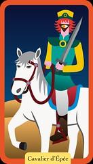 Cavalier d'Épée (aluniverse) Tags: bâtons coupes épées deniers tarotdemarseille arcanesmineurs arcanemineur 56cartes