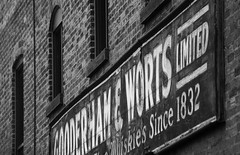 Gooderham & Worts (peterkelly) Tags: bw toronto ontario canada brick window sign wall digital distillerydistrict northamerica gooderhamworts