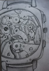 Pencil Drawing Watch Mechanism (From Within a Book...) Tags: art clock pencil sketch soft time drawing parts watch cogs mechanism workings shading